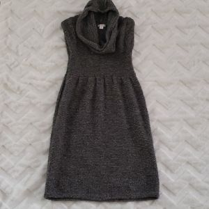 Cozy Grey Sweater Dress with Cowl Neck, Small